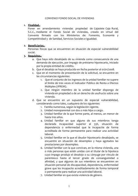 PROCEDIMIENTO CONVENIO FONDO SOCIAL VIVIENDAS