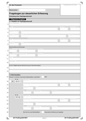 Fragebogen Zur Steuerlichen Erfassung Pdf