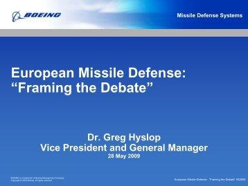 """European Missile Defense: """"Framing the Debate"""" - RUSI"""