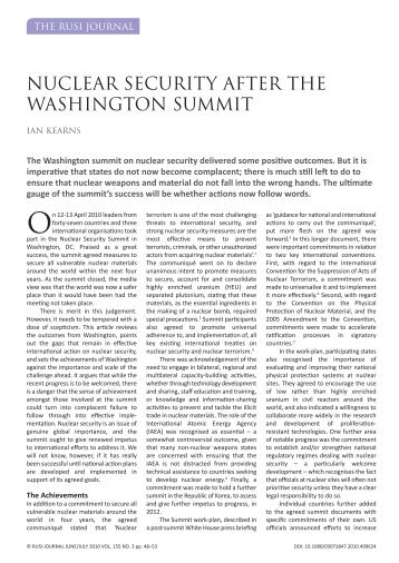 NUCLEAR SECURITY AFTER THE WASHINGTON SUMMIT - RUSI