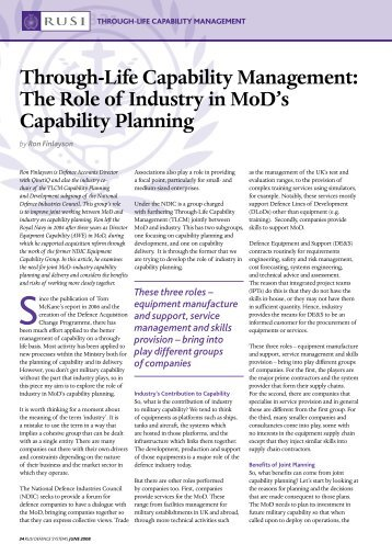 Through-Life Capability Management: The Role of Industry in ... - RUSI