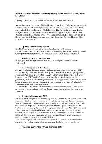 Notulen van de 5e Algemene Ledenvergadering van de ... - R-USKO