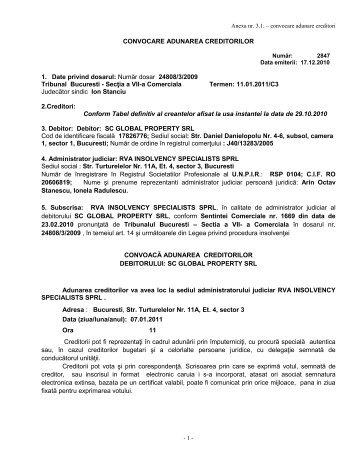 Număr dosar 24808/3/2009 Tribunal Bucuresti - rva insolvency ...