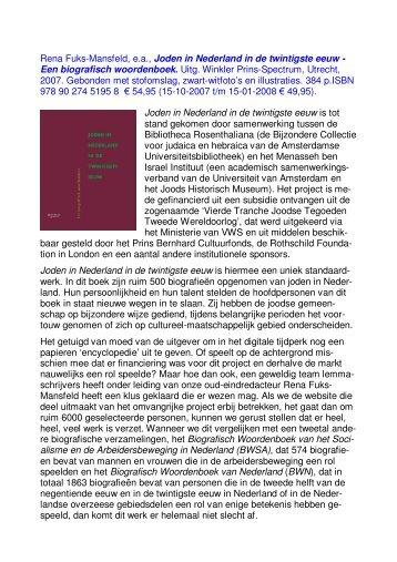 Rena Fuks-Mansfeld, e.a., Joden in Nederland in de twintigste eeuw ...