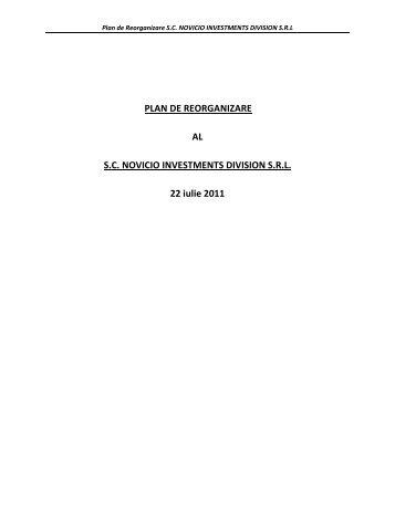 Plan de reorganizare - rva insolvency specialists sprl