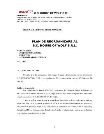 Plan reorganizare - rva insolvency specialists sprl
