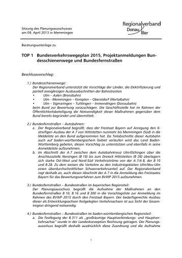 TOP 1 Bundesverkehrswegeplan 2015, Projektanmeldungen Bun ...
