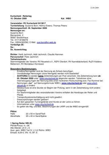 Kurtscheid - Reitertag 10. Oktober 2009 Kat . WBO - Reiterverein ...