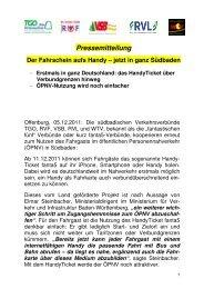Pressemitteilung zum Start HandyTicket - RVL