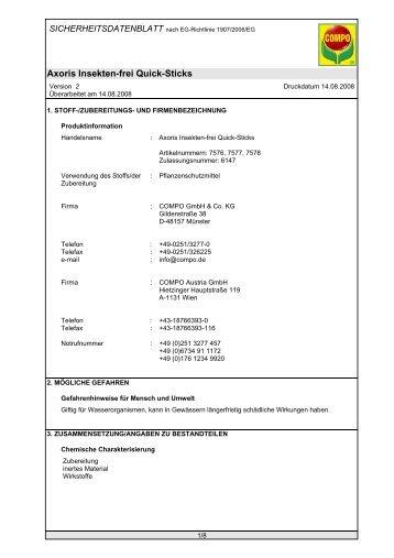 Axoris Insekten-frei Quick-Sticks - RW Agrar GmbH Hassberge