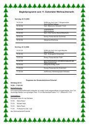Begleitprogramm zum 11. Eckentaler Weihnachtsmarkt