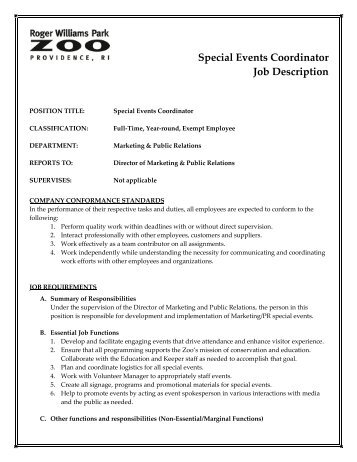 Job Description Job Title Volunteer And Event Coordinator