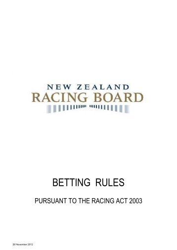 New Zealand Racing Board Betting Rules - RWWA Home