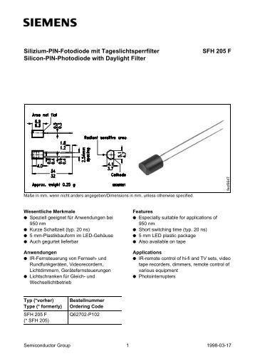 Silizium-PIN-Fotodiode mit Tageslichtsperrfilter Silicon-PIN ...