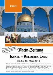 ISRAEL – GELOBTES LAND - rz-Leserreisen