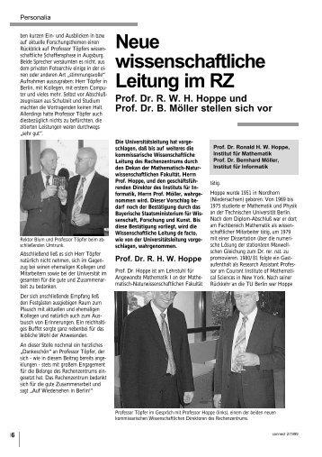 Neue wissenschaftliche Leitung im RZ - Rechenzentrum ...