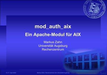 mod_auth_aix - Rechenzentrum - Universität Augsburg