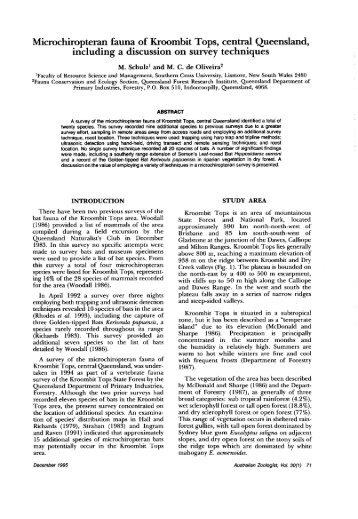 Schulz M de Oliveira M C Microchiropteran fauna of ... - RZS of NSW