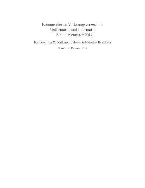 Kommentiertes Vorlesungsverzeichnis Mathematik und ... - RZ User