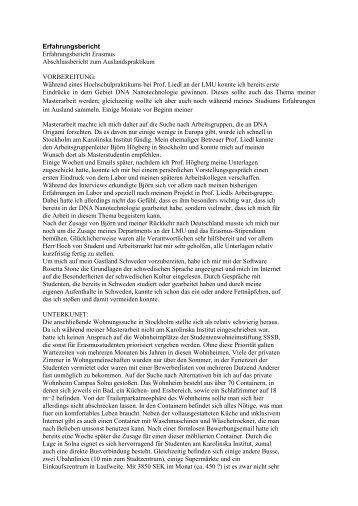 Erfahrungsbericht Erfahrungsbericht Erasmus Abschlussbericht zum ...
