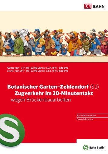 Botanischer Garten–Zehlendorf (S 1) Zugverkehr im 20-Minutentakt ...