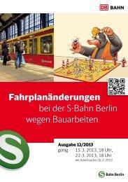 Fahrplanänderungen bei der S-Bahn Berlin wegen Bauarbeiten