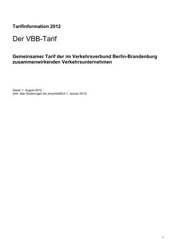 Aktualisierter VBB Tarif - S-Bahn Berlin GmbH