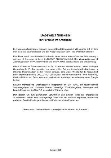BADEWELT SINSHEIM - Bahn.de