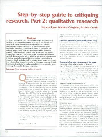 nursing times critiquing quantitative research papers This type of research aims to report a situation as it actually is in a natural nursing times awards understanding and critiquing qualitative research papers.