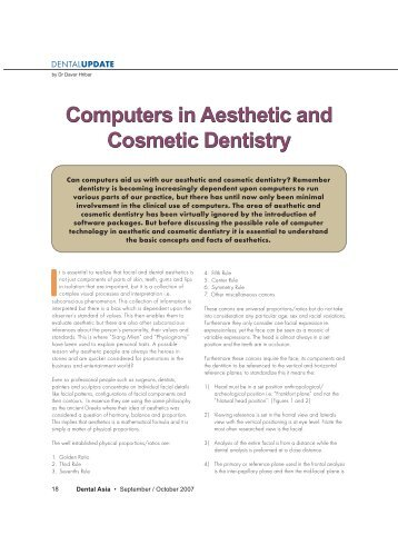 Computers in Aesthetic and Cosmetic Dentistry ... - Health Mantra