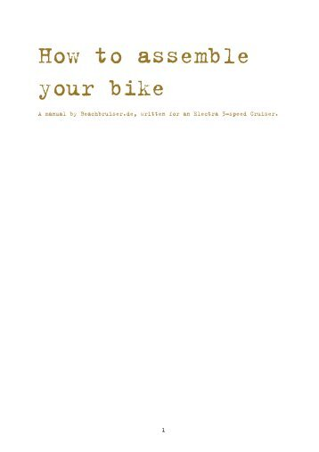 Assembly instructions for partly assembled bikes - Beachcruiser.de