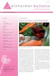 Essen mit Sinn und Sinnlichkeit - Alzheimer-Bulletin 1/2013
