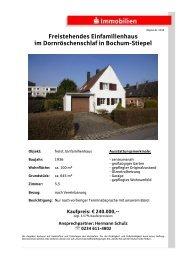 Freistehendes Einfamilienhaus im Dornröschenschlaf in Bochum ...