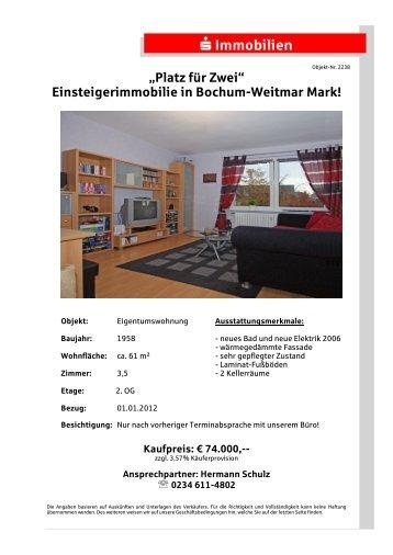 """""""Platz für Zwei"""" Einsteigerimmobilie in Bochum-Weitmar Mark!"""