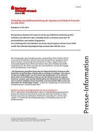 Vorläufige Geschäftsentwicklung der Sparkasse Kulmbach-Kronach ...