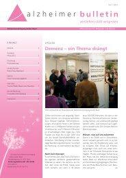 Demenz, ein Thema drängt - Alzheimer-Bulletin 1/2012