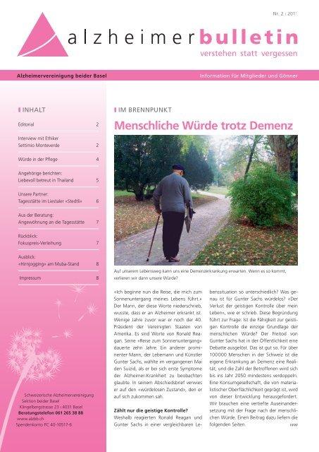 Menschliche Würde trotz Demenz - Alzheimer-Bulletin 2/2011