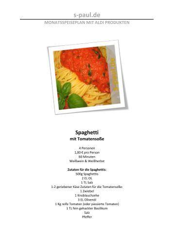 s-paul.de MONATSSPEISEPLAN MIT ALDI PRODUKTEN Spaghetti ...