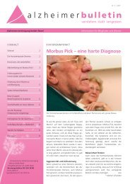Morbus Pick, eine harte Diagnose - Alzheimer-Bulletin 1/2011