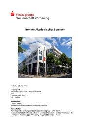 Bonner Akademischer Sommer - Sparkassen-Finanzgruppe eV