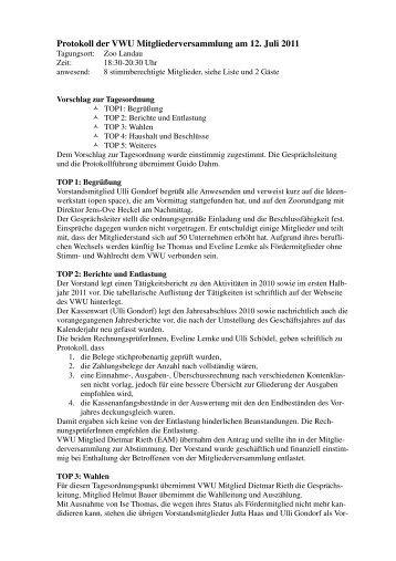 Protokoll der VWU Mitgliederversammlung am 12. Juli 2011