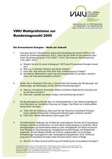 VWU Wahlprüfsteine zur Bundestagswahl 2009