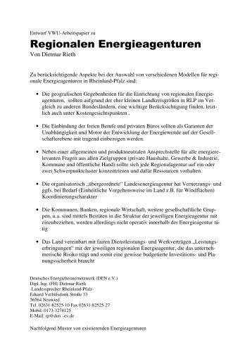 Regionalen Energieagenturen - VWU