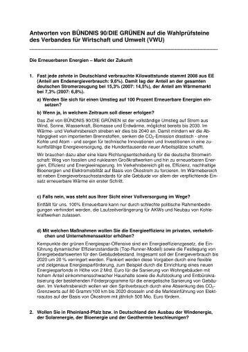 Antworten von BÜNDNIS 90/DIE GRÜNEN auf die ... - VWU