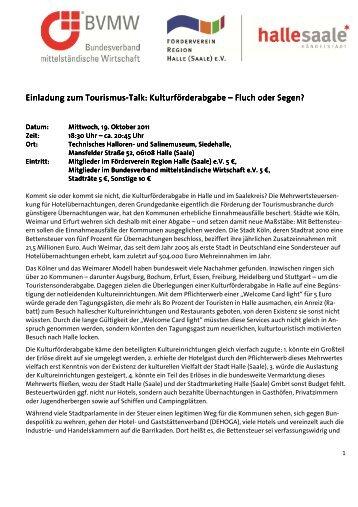 Einladung zum 1. Tourismus-Talk - Förderverein Region Halle (Saale)