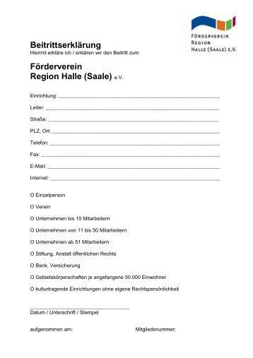 Beitrittserklärung und Beitragsordnung - Förderverein Region Halle ...