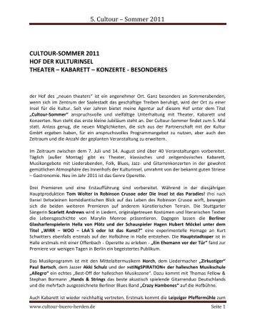 5. Cultour – Sommer 2011 - Förderverein Region Halle (Saale)