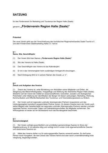"""SATZUNG genannt: """"Förderverein Region Halle (Saale)"""""""