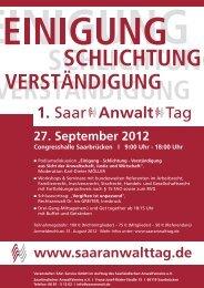 1. Saar Anwalt Tag - SAV Saarländischer Anwaltverein
