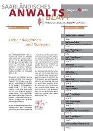 Download Anwaltsblatt 4/ 2010 - SAV Saarländischer Anwaltverein
